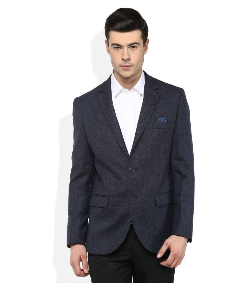 Giovani Blue Solid Formal Blazers