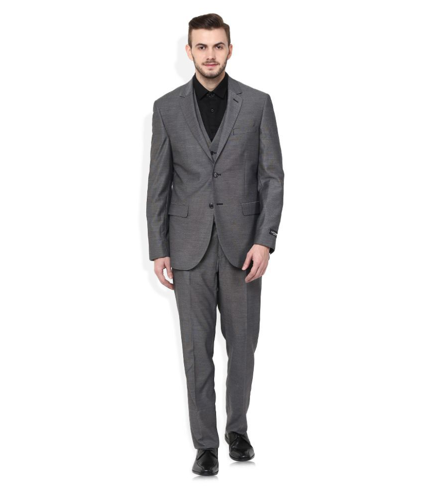 Giovani Grey Plain Formal 3 Piece Suits