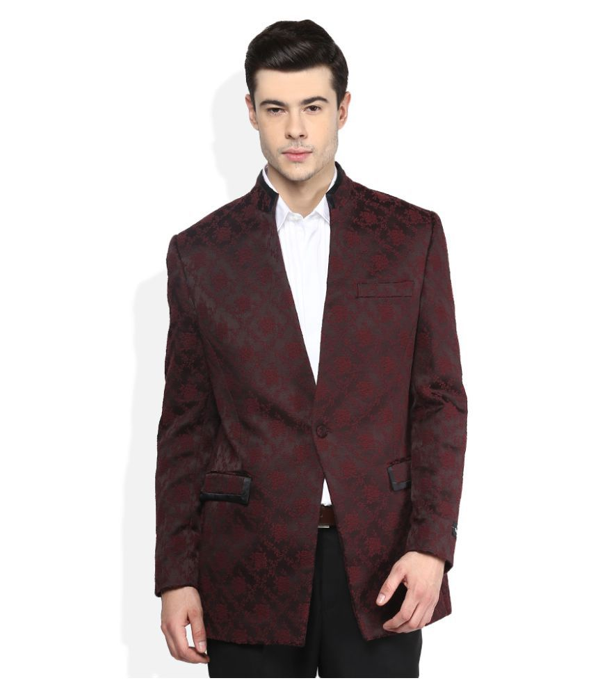 Giovani Maroon Self Design Casual Blazers
