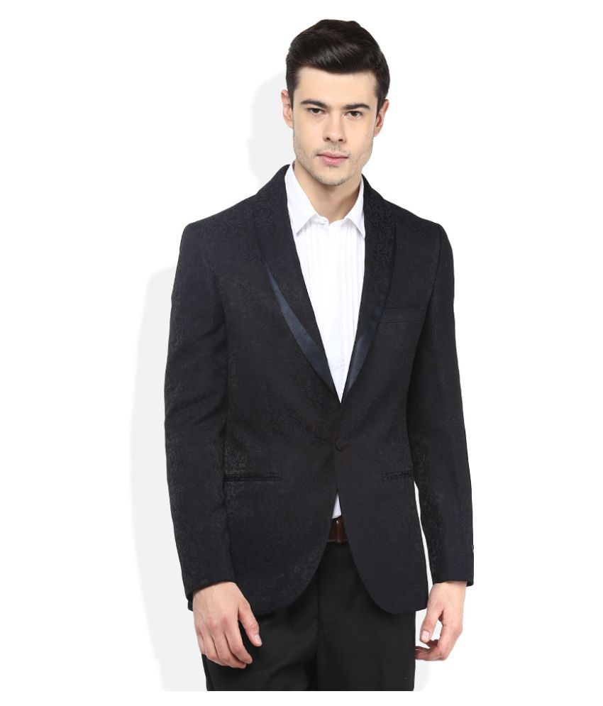 Giovani Navy Self Design Casual Blazers