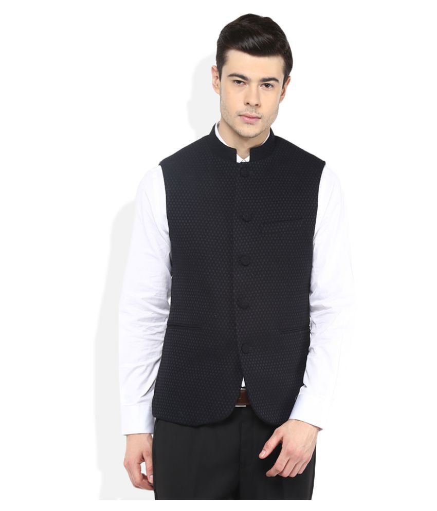 Giovani Navy Self Design Party Waistcoats Single