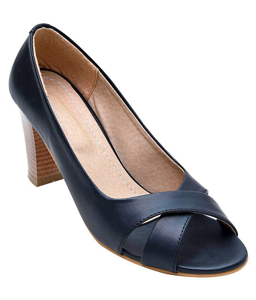 Glitzy Galz Black Block Heels