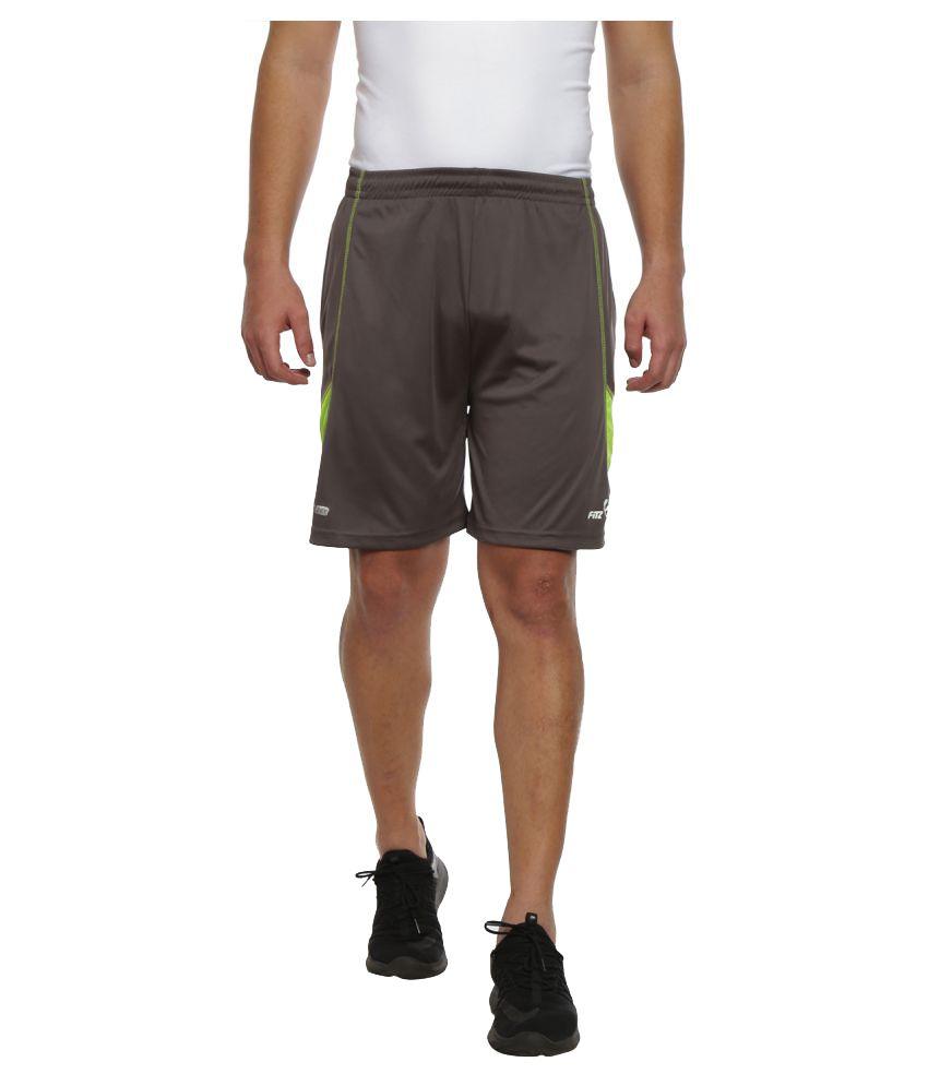 Fitz Grey Polyester Fitness Shorts Single