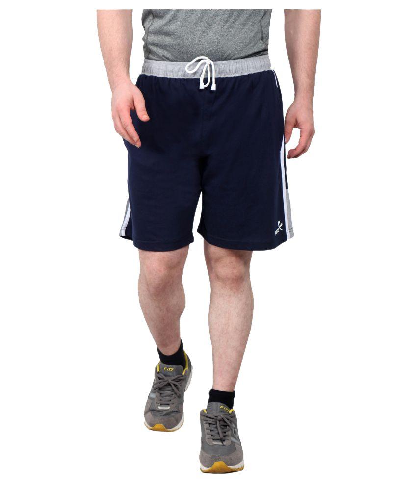 Fitz Navy Polyester Cotton Fitness Shorts Single