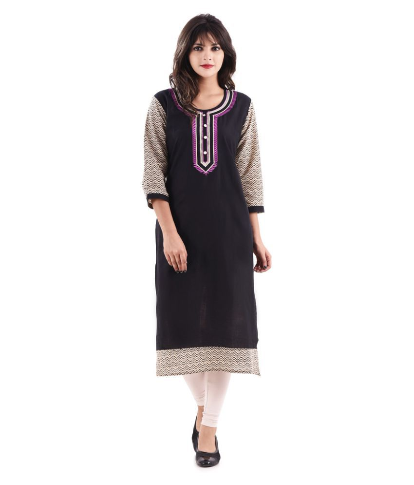 Hirshita Black Rayon Straight Kurti