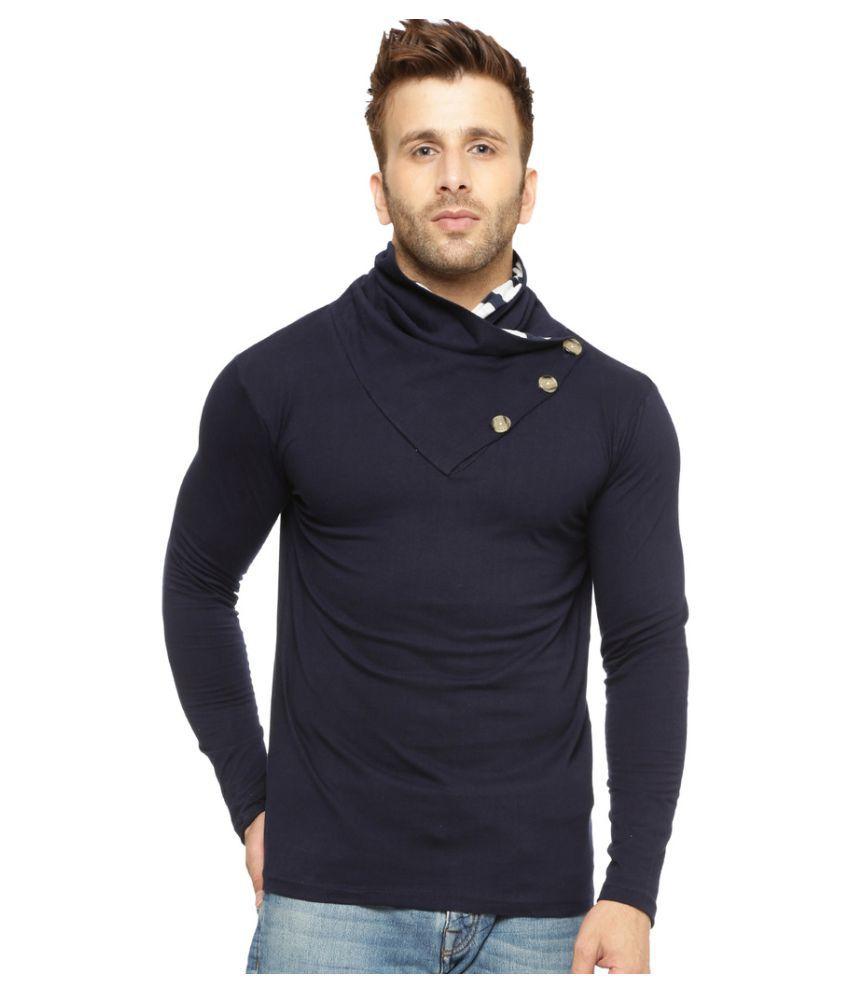 Gritstones Navy High Neck T-Shirt