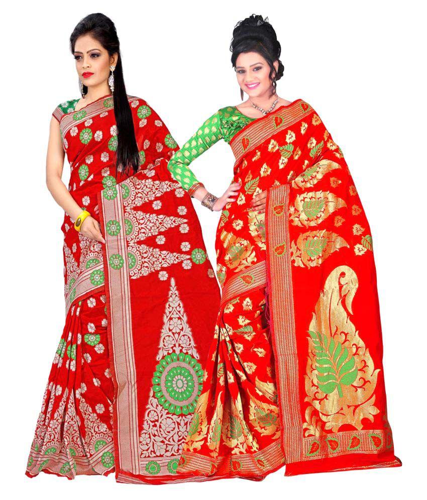 Jayant Creation Red Art Silk Saree Combos