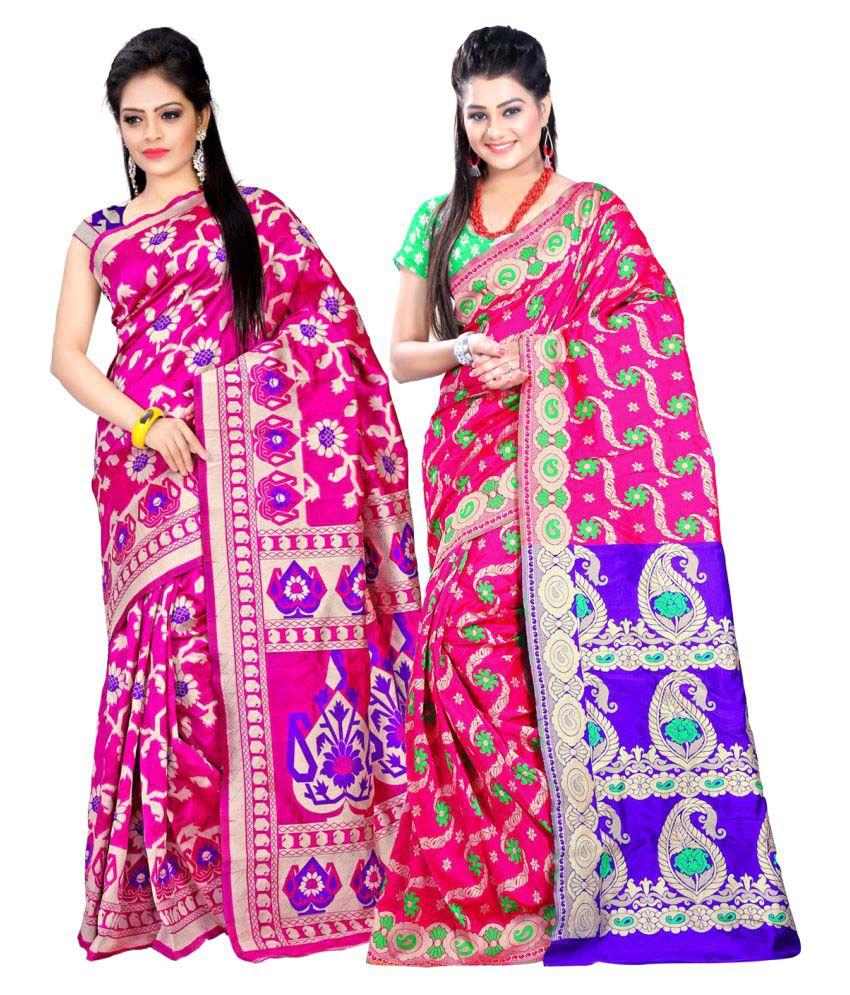 jayant Creation Pink Art Silk Saree Combos