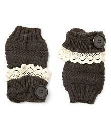 Noise Dark Brown Buttoned And Laced-up Acrylic Winter Woolen Gloves/Armwarmer For Women Online