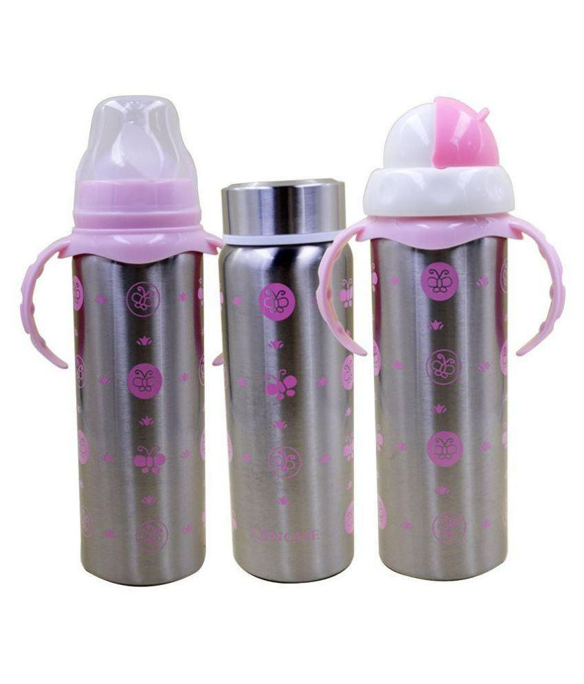8813173c7a3 N M Multifunctional Baby Steel Feeding Bottle With Beautiful Design - Pink  (Color may vary)  Buy N M Multifunctional Baby Steel Feeding Bottle With ...