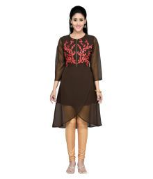 Vivan Fashion Brown Georgette High Low Hemline Kurti