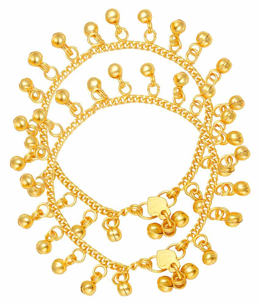 Memoir Gold Plated Elegant Ghungroo Studded Sweet Sounding Anklets for Women