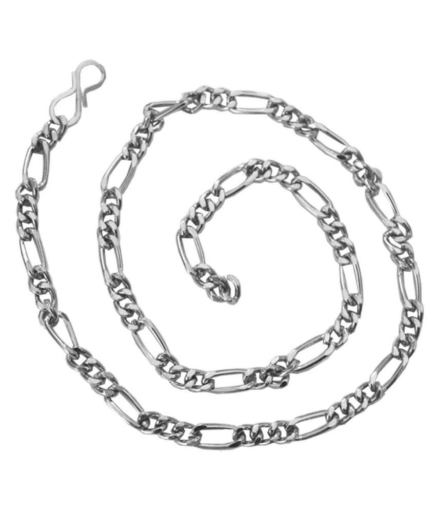 Mens Jewell Silver  24k Figaro Design   Chain