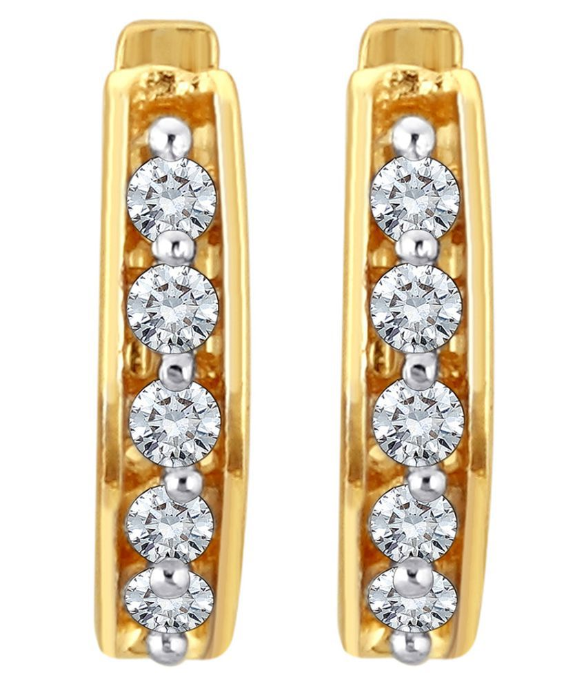 Myzevar 18K Yellow Gold Diamond Huggies