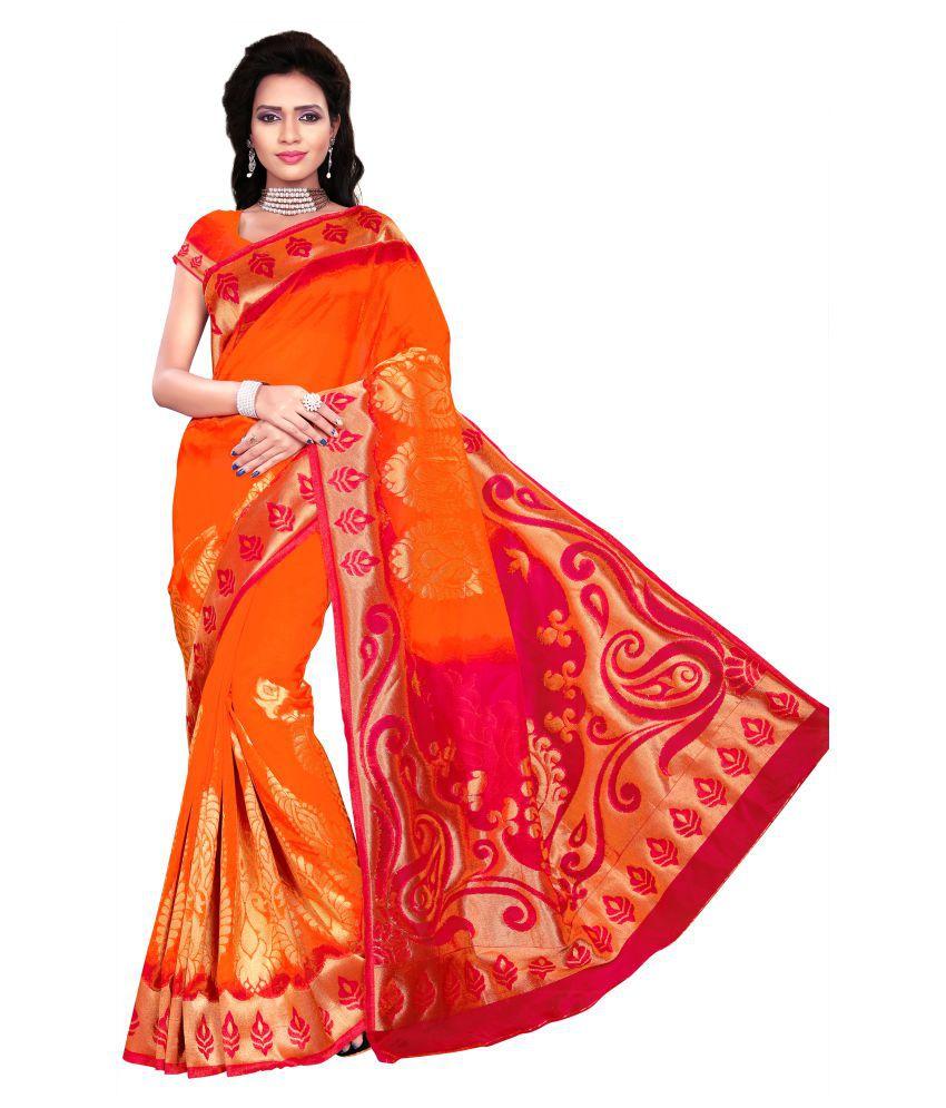 Weavedeal Orange Kanchipuram Saree