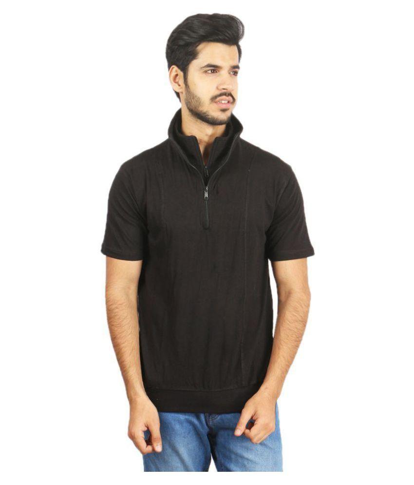 Risess Black High Neck T-Shirt