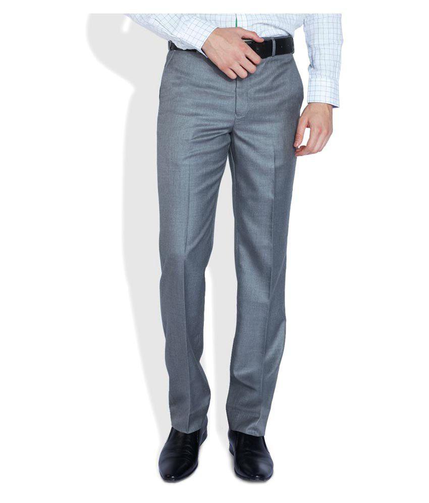 Park Avenue Grey Slim Flat Trouser