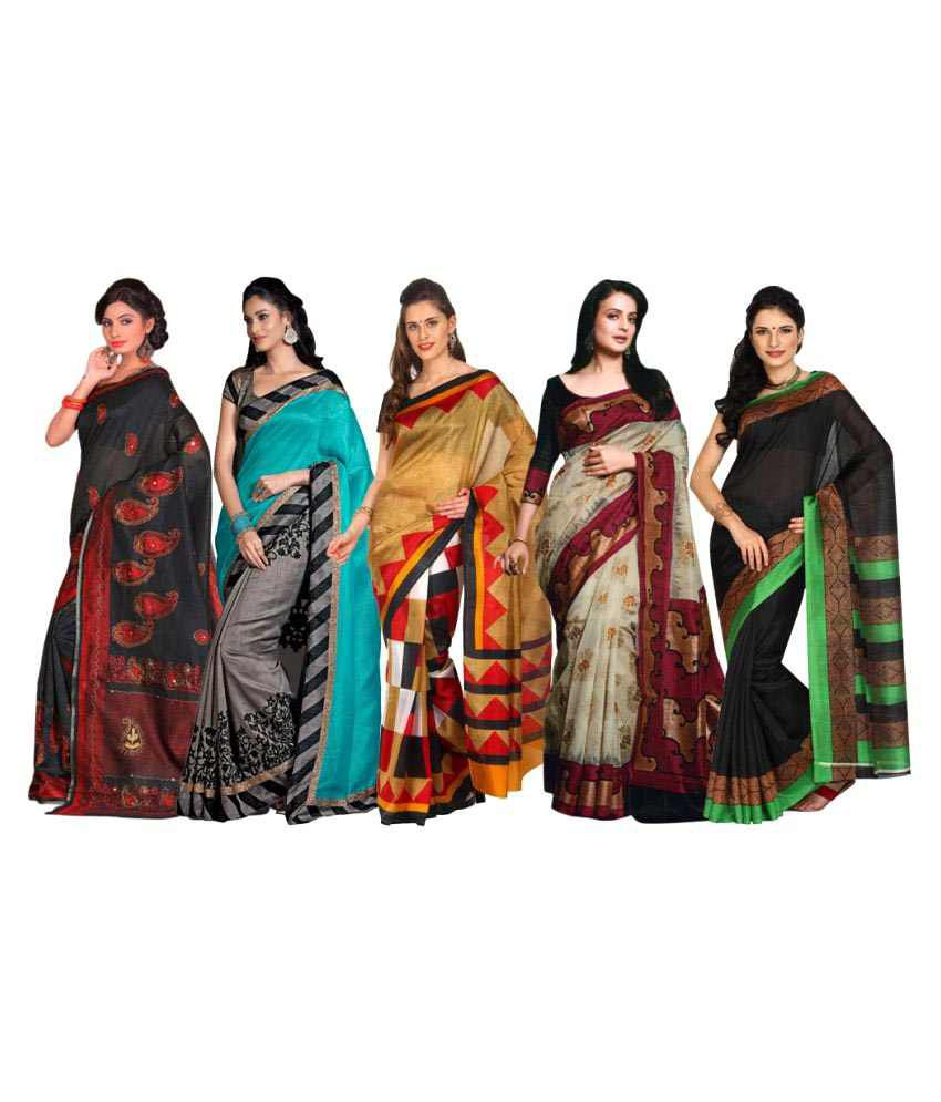 Rangkari Multicoloured Bhagalpuri Silk Saree Combos