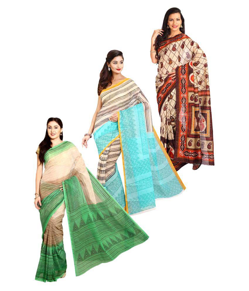 Rangkari Multicoloured Cotton Saree Combos