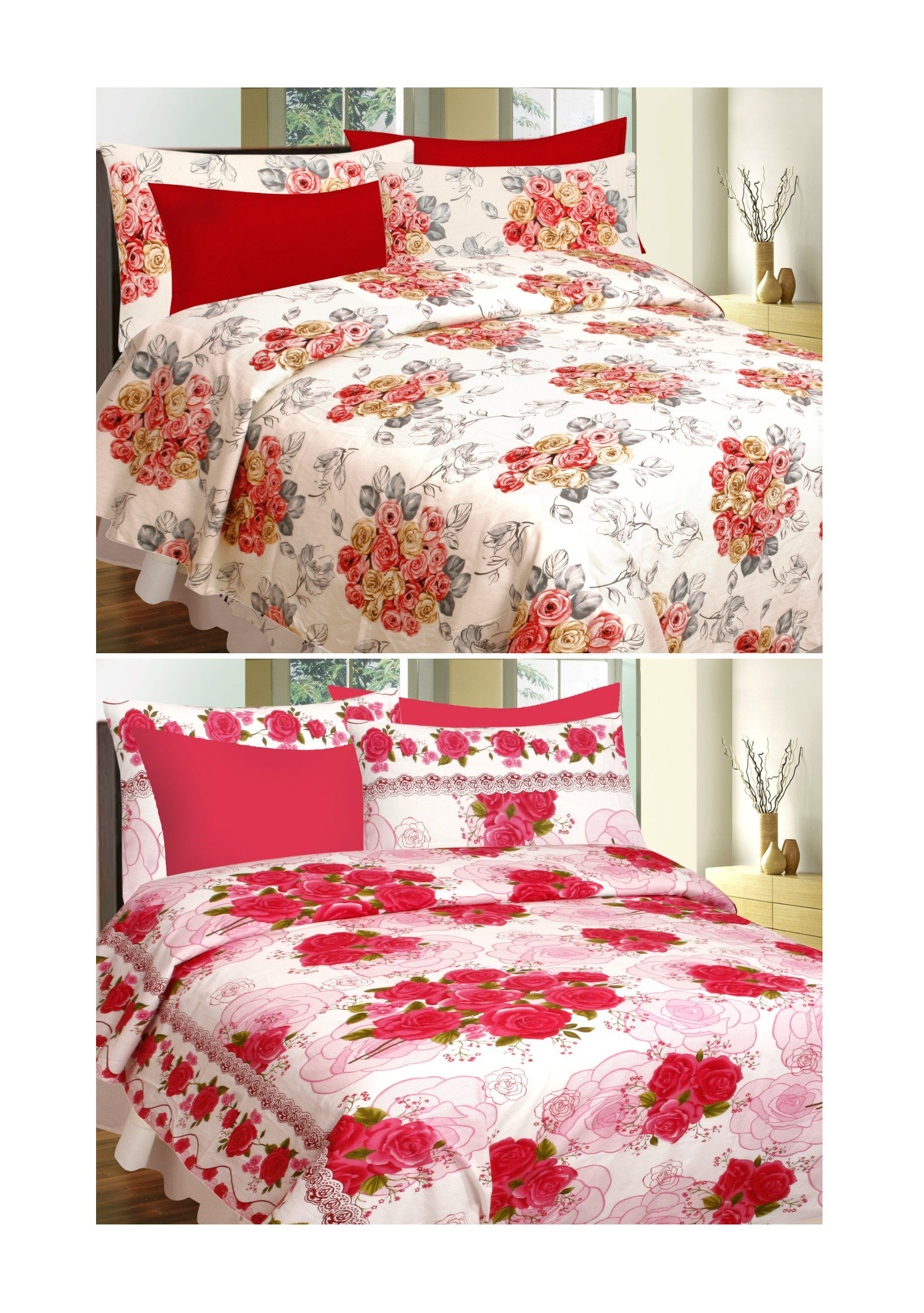 Divine Casa Buy 1 Get 1 Double Cotton Abstract Bed Sheet Buy