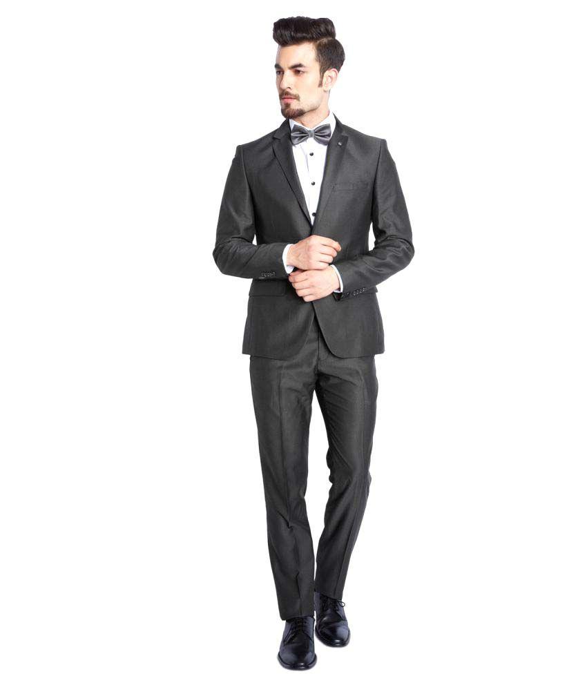 Parx Grey Solid Formal Suit