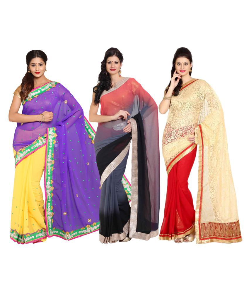 Rangkari Multicoloured Georgette Saree Combos