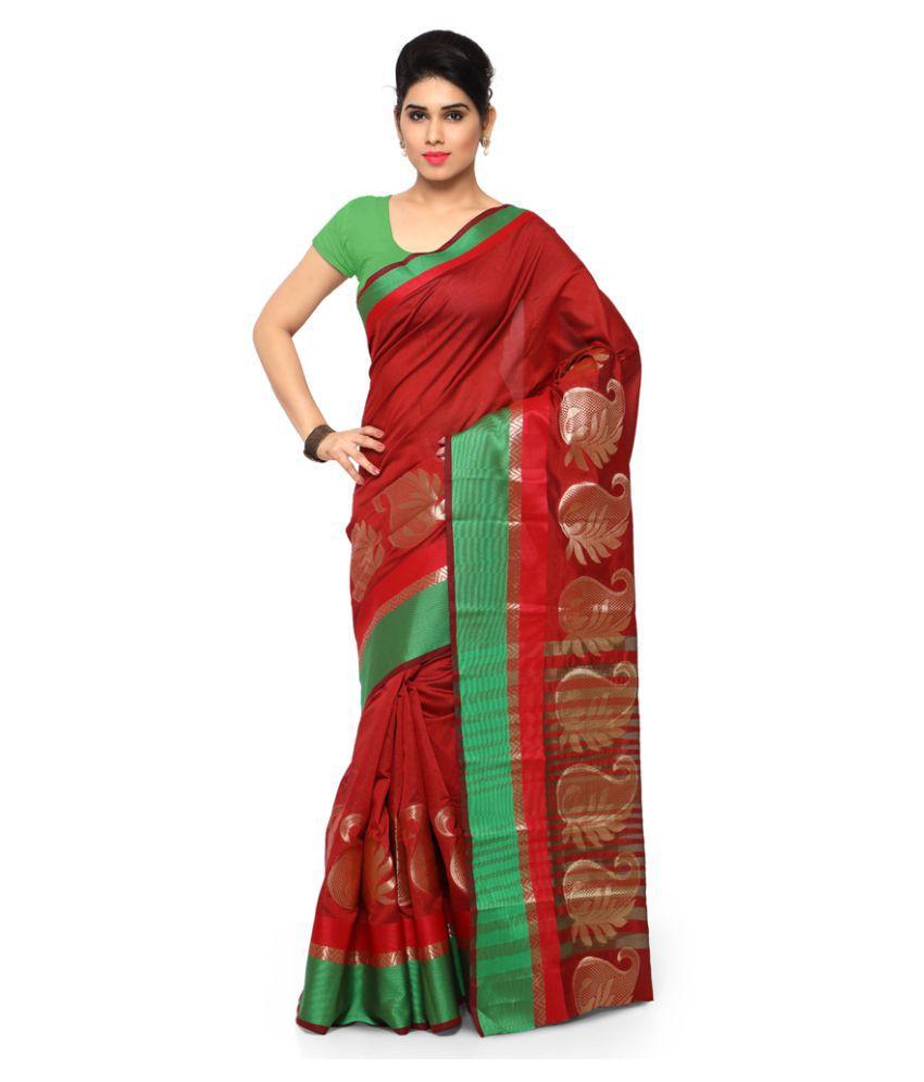 Varkala Silk Sarees Green and Red Art Silk Saree