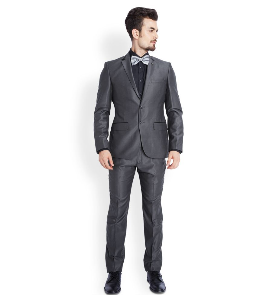 Parx Black Solid Formal Suit