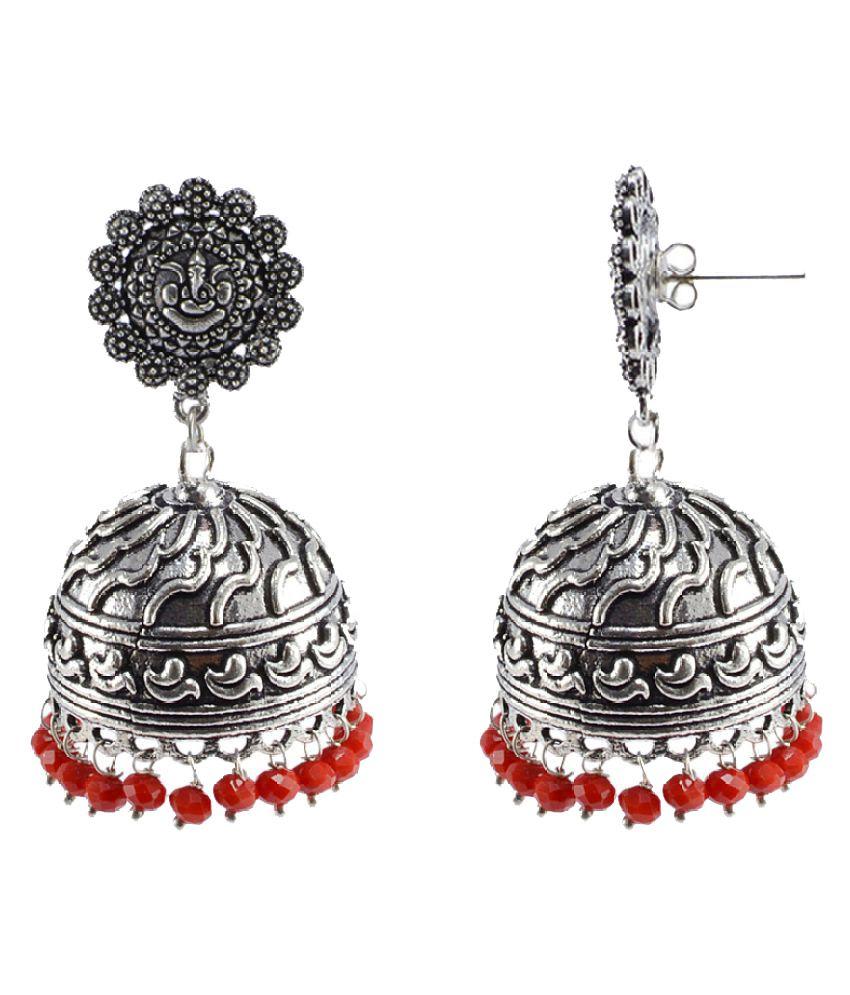 Silvesto India Coral Quartz 925 Silver Plated Traditonal Jhumki Earrings