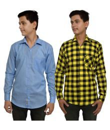 Legesta Fashion Multi Casuals Slim Fit Shirt Pack Of 2, 1 Solid Shirt & 1 Check Shirt.