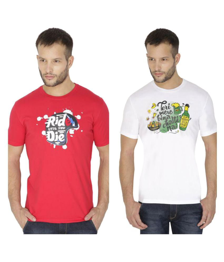 Tarkshyam Trendz Multi Round T-Shirt Pack of 2