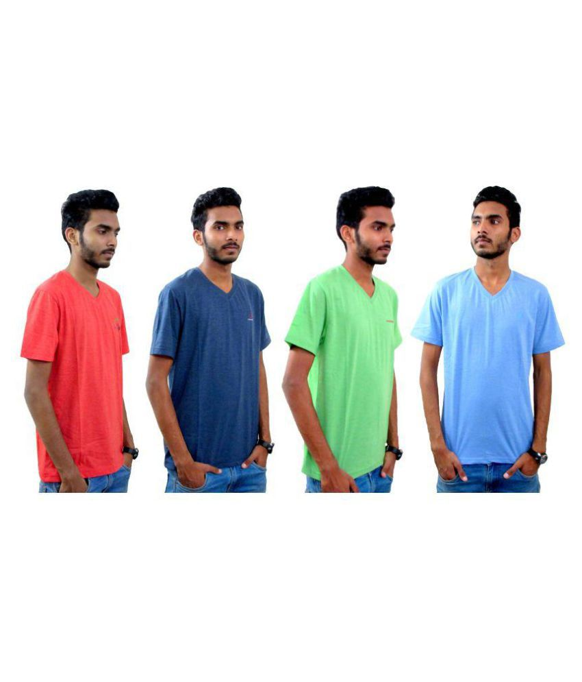Timtim Collezione Multi V-Neck T-Shirt Pack of 4