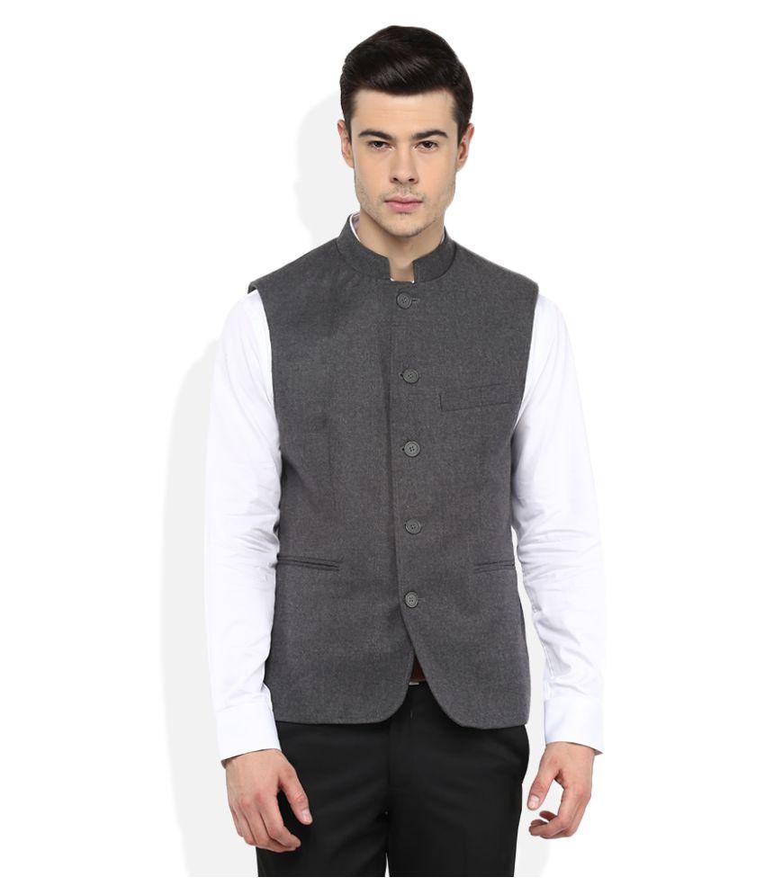 GIOVANI Grey Solid Formal Waistcoats