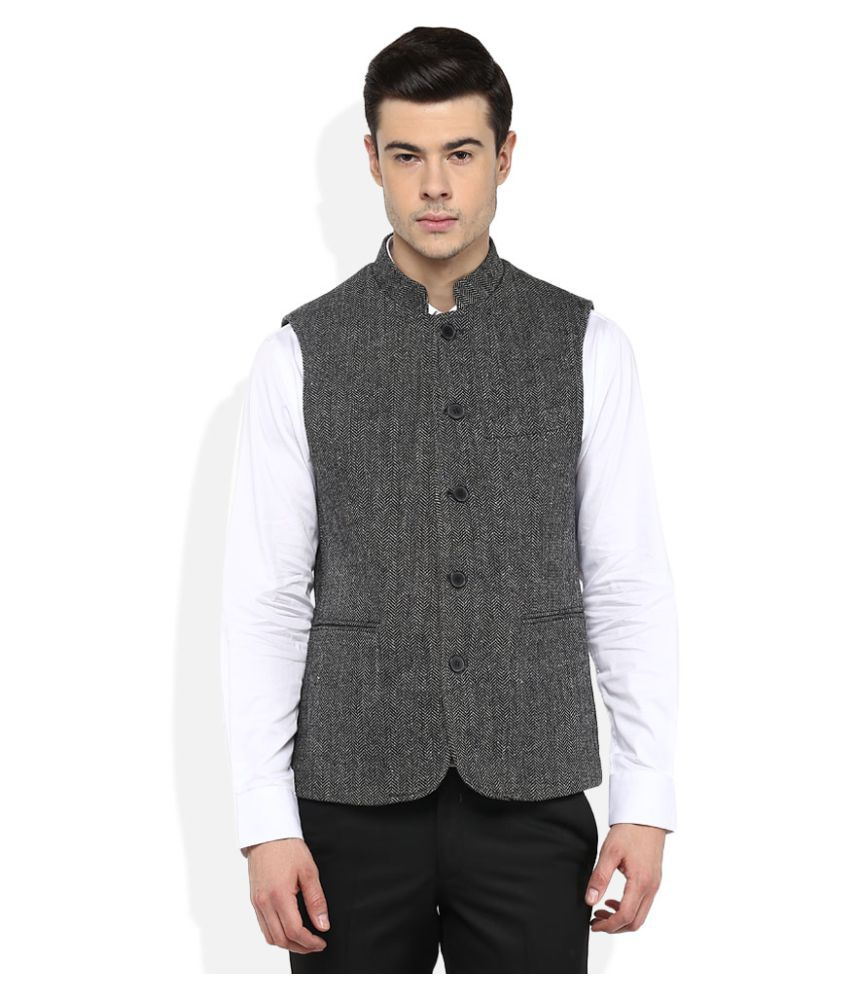GIOVANI Black Self Design Formal Waistcoats