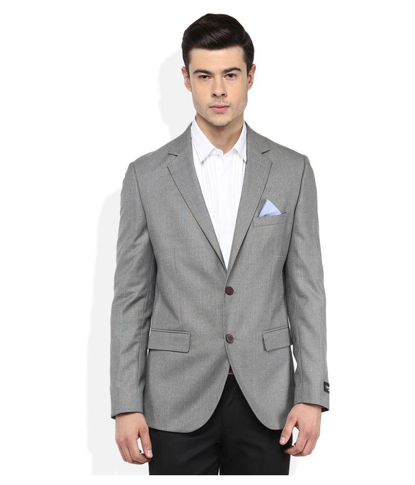 Giovani Grey Solid Formal Blazers