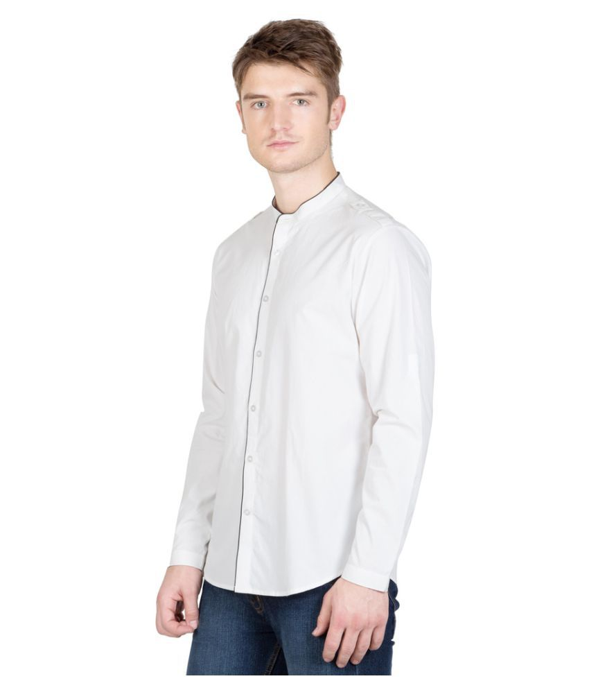 N F Clothing White Casuals Slim Fit Shirt