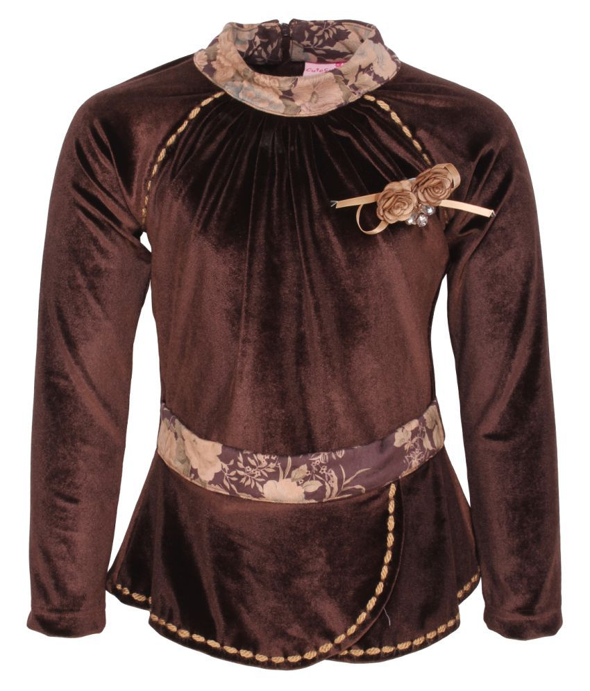 Cutecumber Girl's Brown Winter Top