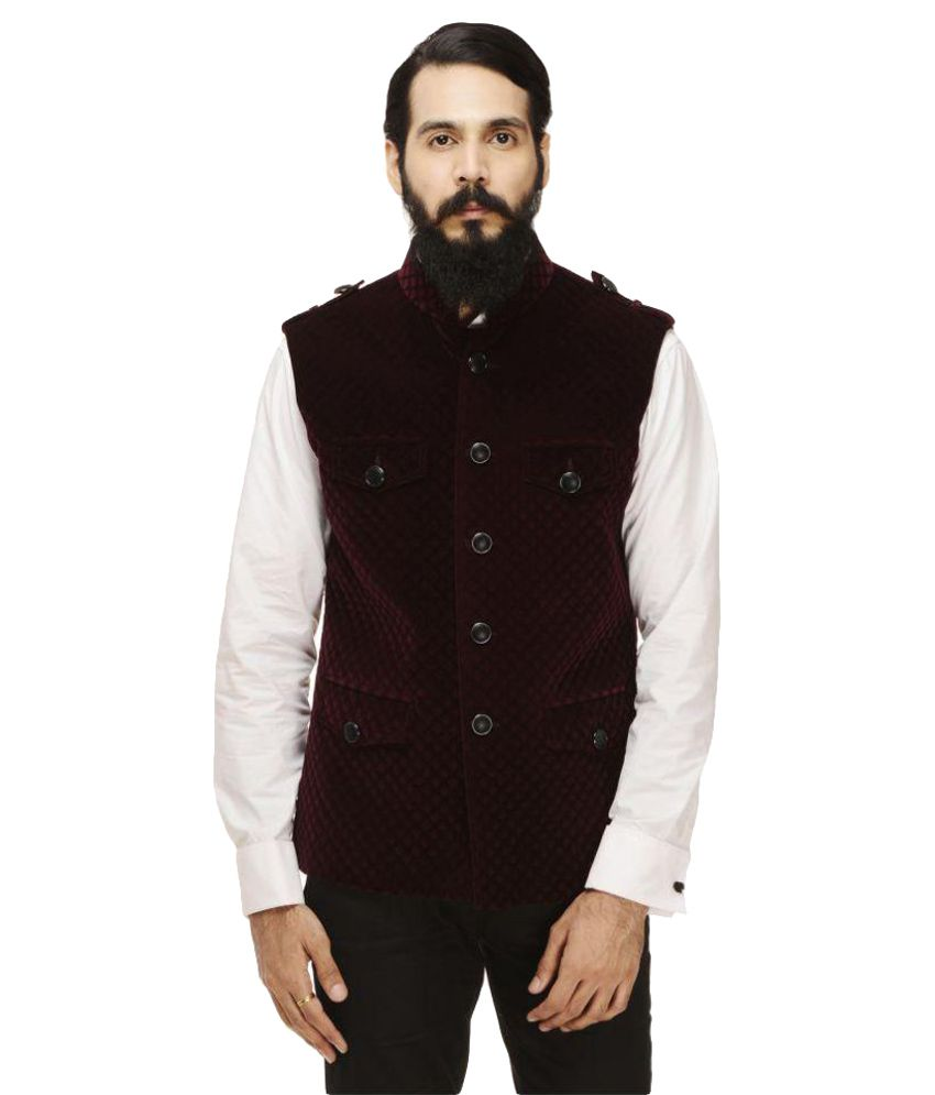 Monteil & Munero Maroon Checks Casual Jackets
