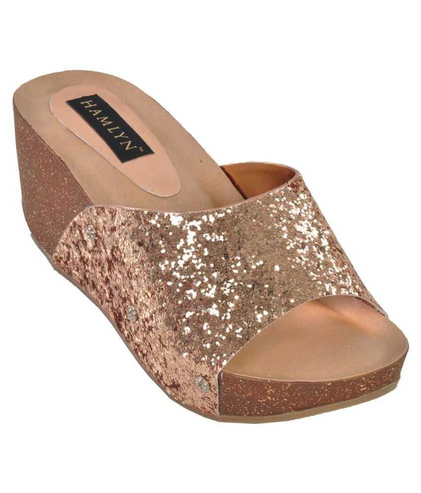 49c1e9d0c9 Hamlyn Shoes Gold Wedges Heels Price in India- Buy Hamlyn Shoes Gold Wedges  Heels Online at Snapdeal