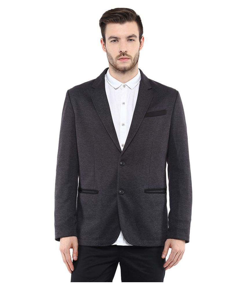 Mufti Grey Solid Formal Blazers