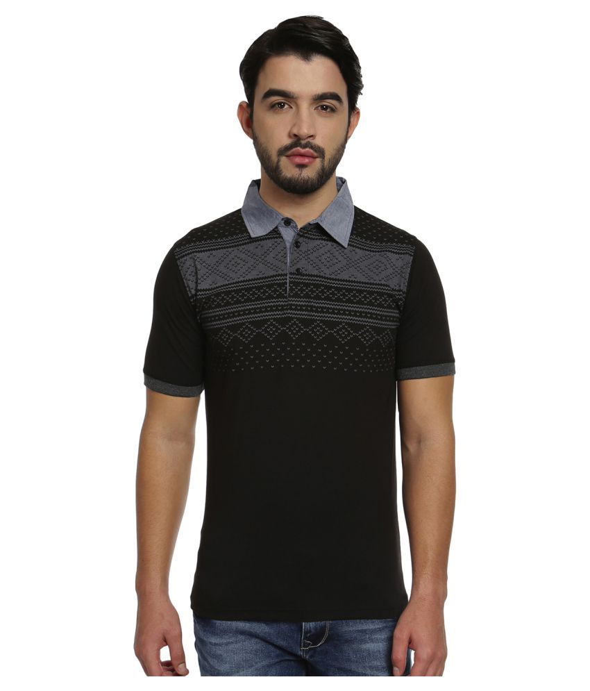 Fitz Black Cotton Polo T-shirt Single Pack