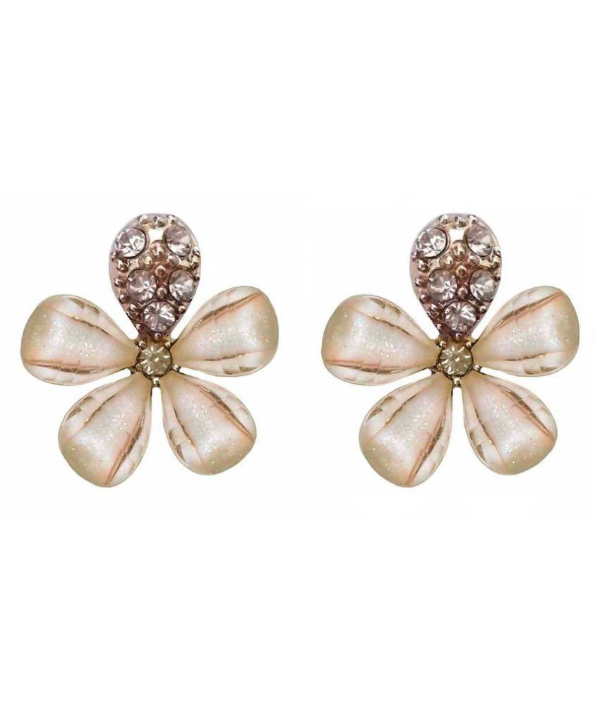 Shining Off-White Colour Floral Design Rhinestones Stud Earrings - 865.3