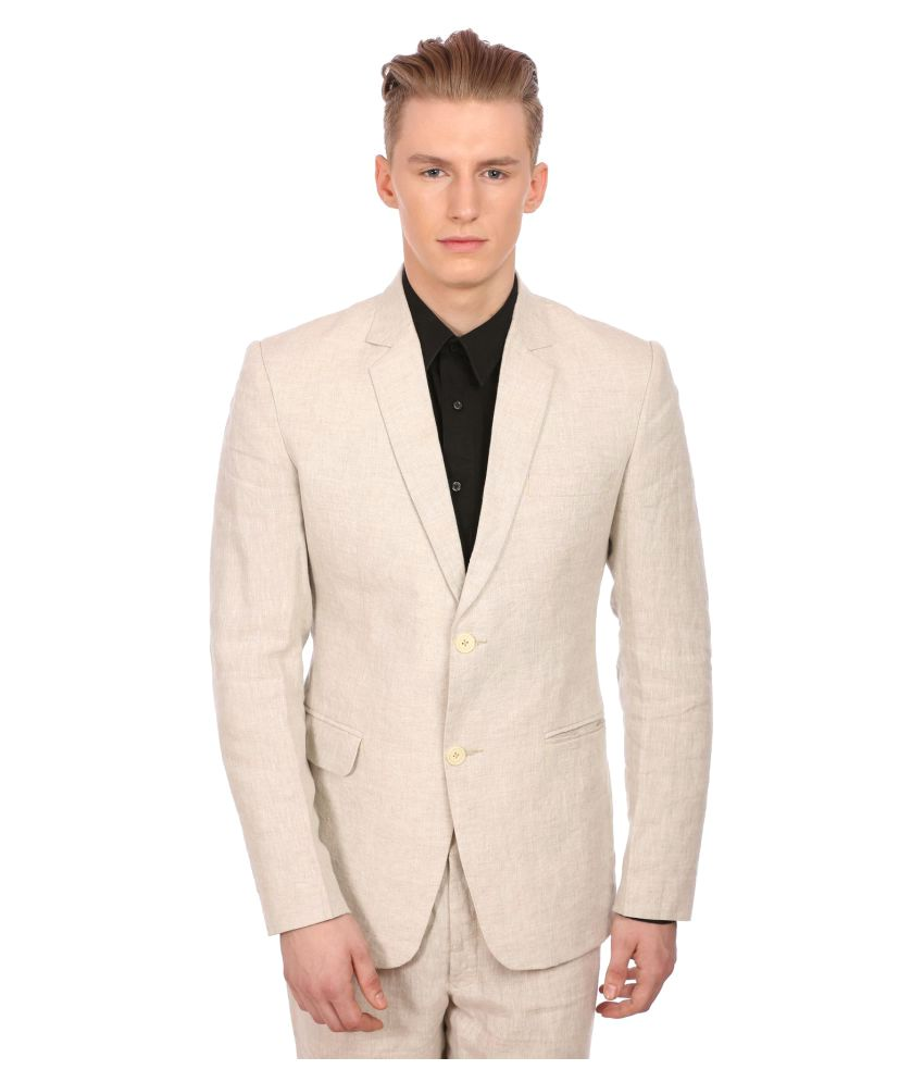 Wintage Beige Solid Party Blazers