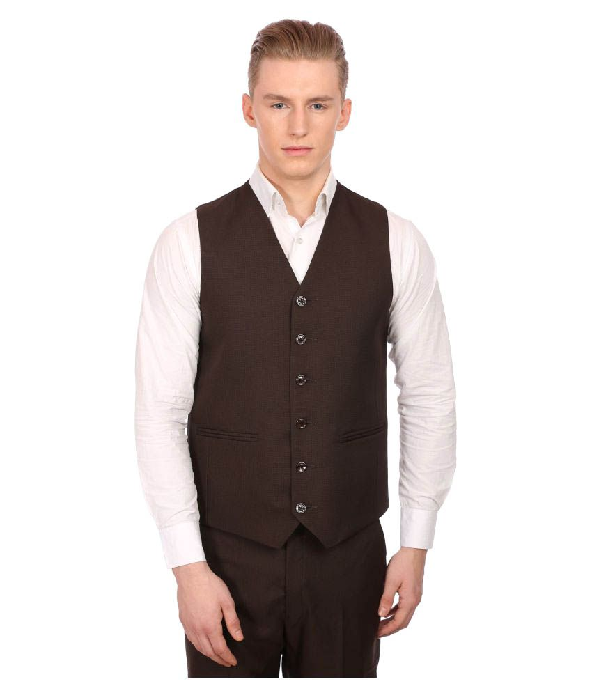Wintage Brown Plain Party Waistcoats
