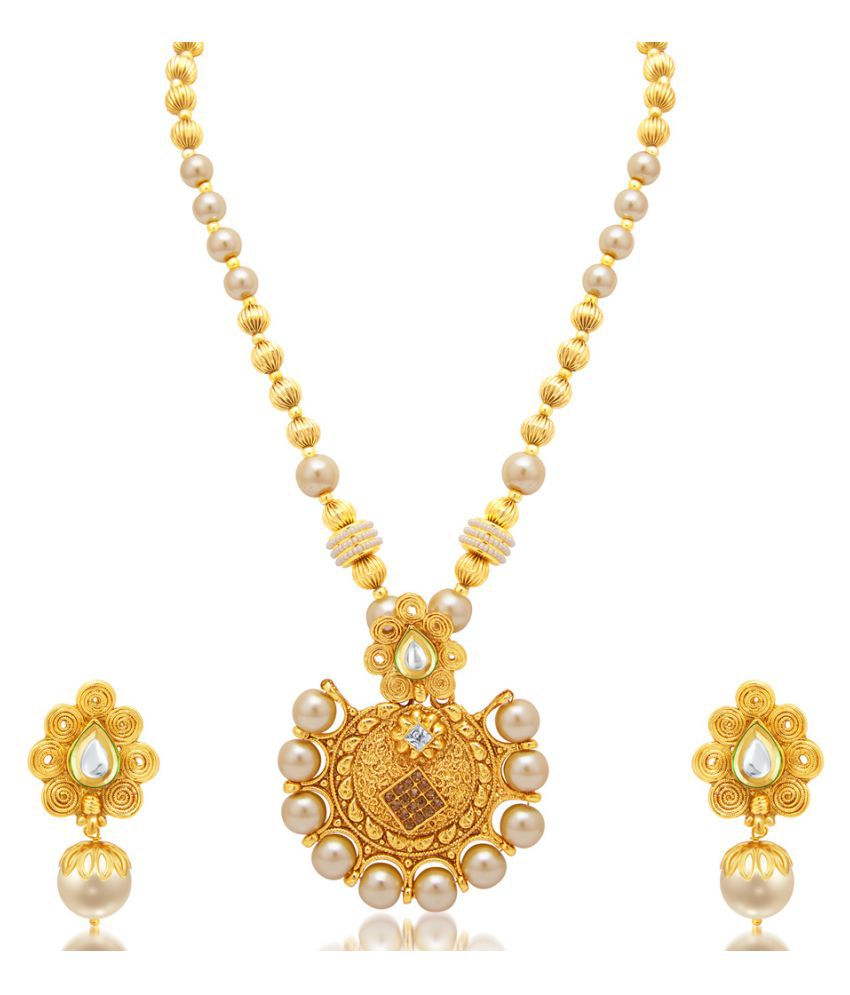 Sukkhi Ethnic Jalebi Gold Plated AD Necklace Set for Women