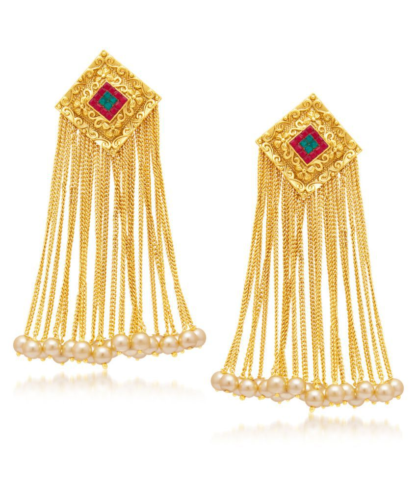 Sukkhi Intricately Gold Plated Hanging Earrings for Women