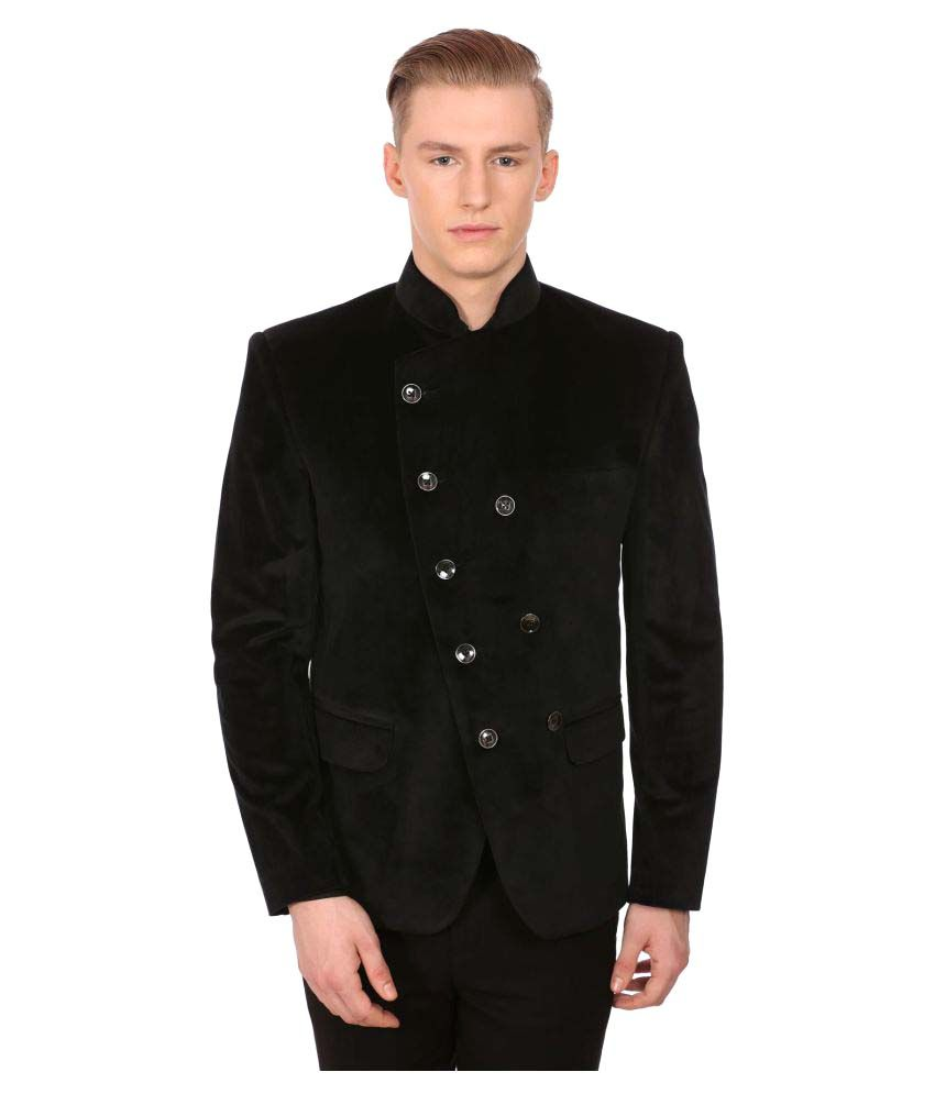 Wintage Black Solid Party Blazers