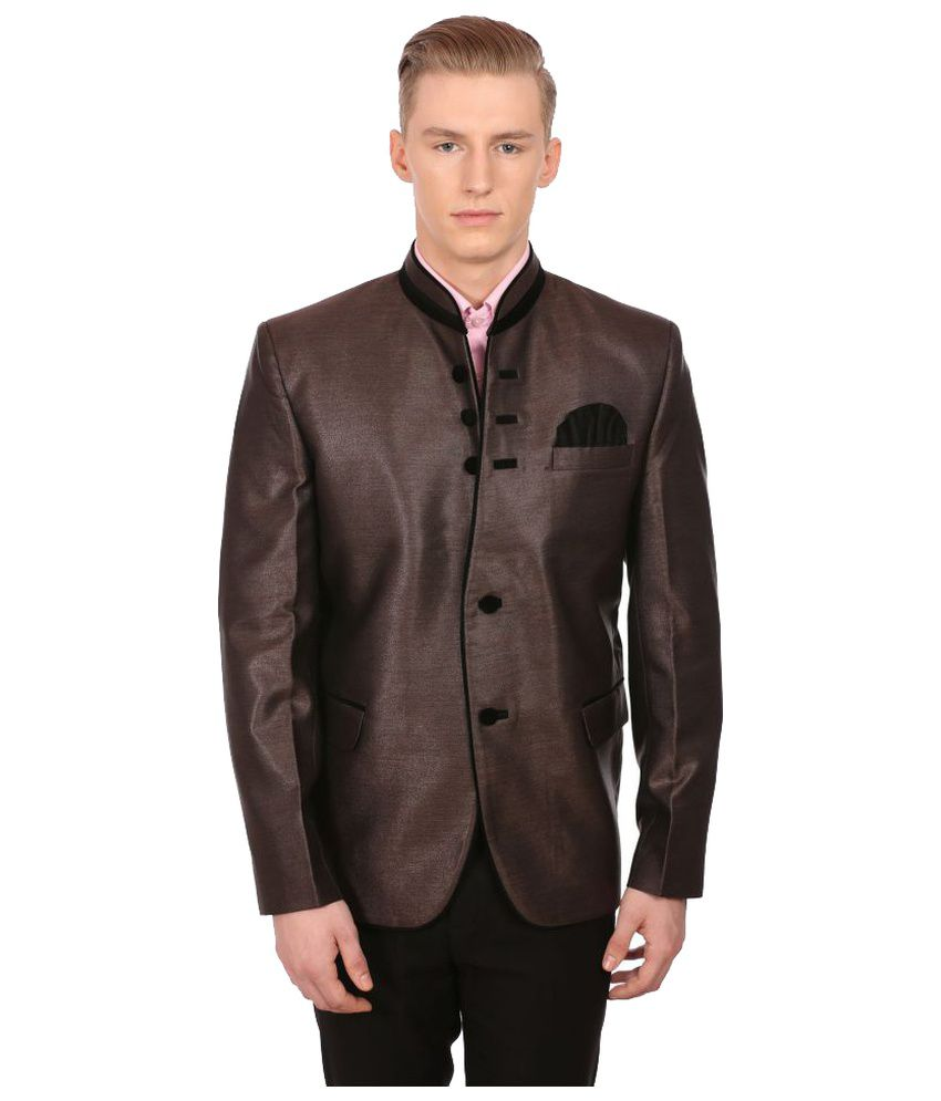 Wintage Brown Solid Party Blazers