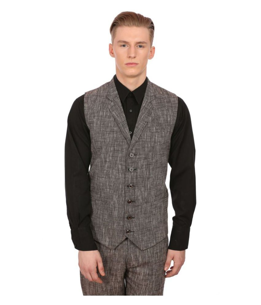 Wintage Brown Solid Party Waistcoats No