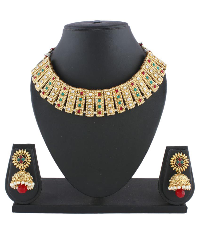 Anuradha Art Golden Styled Colour Maroon-Green Designer Stone Traditional Women Necklace Set